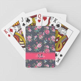 Beautiful trendy girly vintage monogram roses poker deck