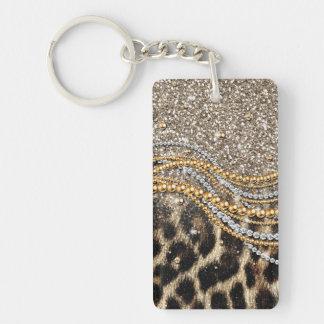 Beautiful trendy leopard faux animal print Double-Sided rectangular acrylic key ring