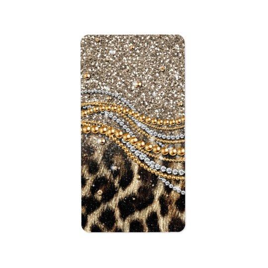 Beautiful trendy leopard faux animal print label