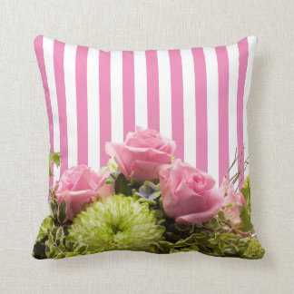 Beautiful Trendy Pink & White Stripes with Roses Throw Cushions