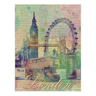 Beautiful trendy Vintage London Landmarks Postcard