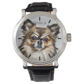 Beautiful Tri-Color Chihuahua Custom Personalized Watch