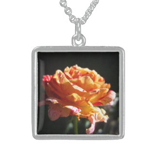Beautiful Tri-color Rose,Ster. Silver Sq. Necklace