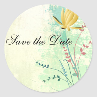 beautiful tropical exotic lily on washed  wedding round sticker