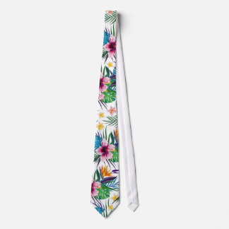 Beautiful tropical floral paint watercolors tie