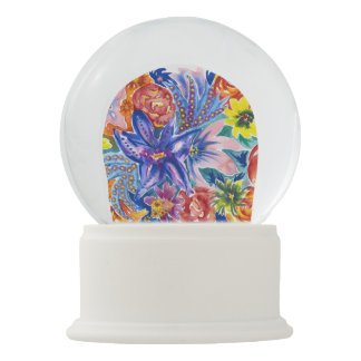 Beautiful Tropical Flower Watercolour Snow Globe