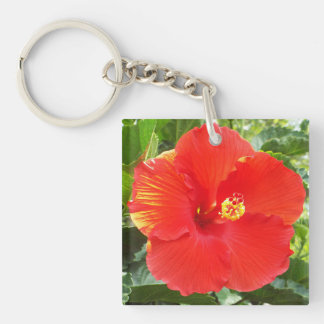 Beautiful tropical hibiscus flower keychain