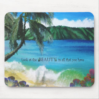 Beautiful Tropical Ocean Scene with Quote Mouse Pad