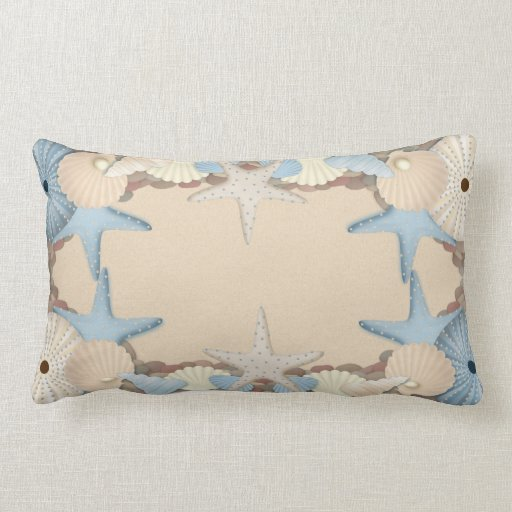 Beautiful Tropical Theme Beach Shells Throw Pillows