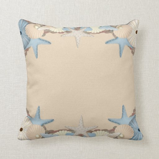 Beautiful Tropical Theme Beach Shells Throw Pillow
