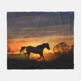 Beautiful Trotting Horse in the Sunrise Fleece Blanket
