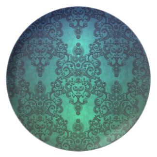 Beautiful Turquoise Blue Green Damask Dinner Plates