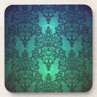 Beautiful Turquoise Blue Green Damask Drink Coaster
