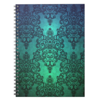 Beautiful Turquoise Blue Green Damask Spiral Notebooks