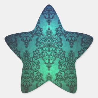 Beautiful Turquoise Blue Green Damask Star Sticker