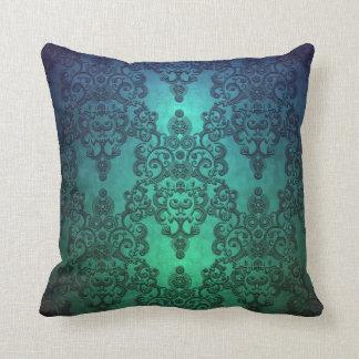 Beautiful Turquoise Blue Green Damask Throw Cushions