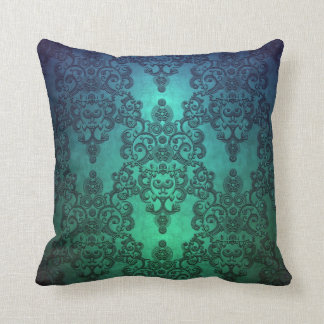 Beautiful Turquoise Blue Green Damask Throw Pillow