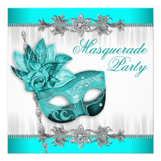 Beautiful Turquoise Blue Masquerade Party Announcements