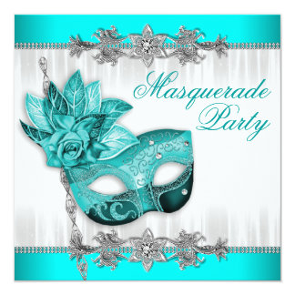 "Beautiful Turquoise Blue Masquerade Party 5.25"" Square Invitation Card"