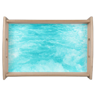 Beautiful Turquoise Blue Sea Water with Splashes Food Tray