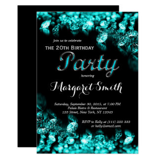 Beautiful Turquoise  Diamond Birthday Invitation