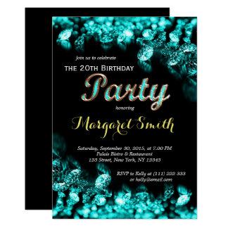 Beautiful Turquoise Diamond Birthday Invite
