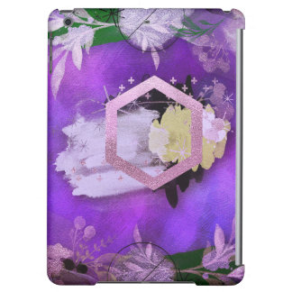 beautiful, ultra violet, abstract,collage,silver,f iPad air case