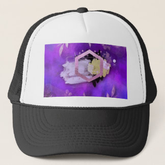 beautiful, ultra violet, abstract,collage,silver, trucker hat