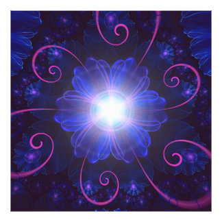 Beautiful Ultra Violet Fractal Nightshade Flower Photo Print