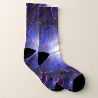 Beautiful Ultra Violet Fractal Nightshade Flower Socks