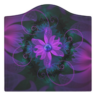 Beautiful Ultraviolet Lilac Orchid Fractal Flowers Door Sign