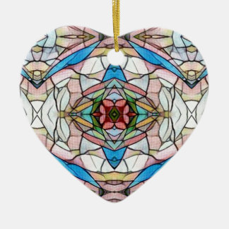 Beautiful Uncommon Artistic Stained Glass Pattern Ceramic Ornament