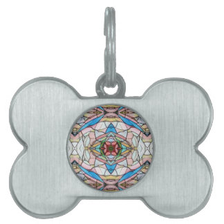 Beautiful Uncommon Artistic Stained Glass Pattern Pet Name Tag