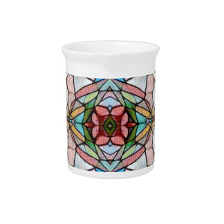 Beautiful Uncommon Artistic Stained Glass Pattern Pitcher