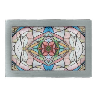 Beautiful Uncommon Artistic Stained Glass Pattern Rectangular Belt Buckle