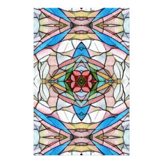 Beautiful Uncommon Artistic Stained Glass Pattern Stationery Paper