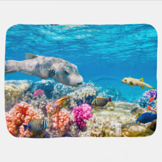 beautiful underwater fish world, wather shower cur baby blanket