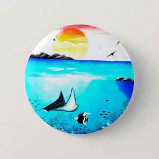 Beautiful Underwater Scene Painting 6 Cm Round Badge