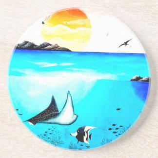 Beautiful Underwater Scene Painting Coaster