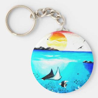 Beautiful Underwater Scene Painting Key Ring