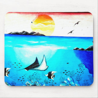 Beautiful Underwater Scene Painting Mouse Pad