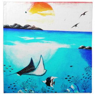 Beautiful Underwater Scene Painting Napkin