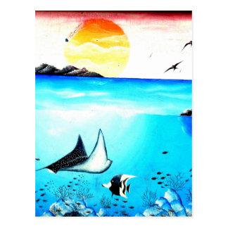 Beautiful Underwater Scene Painting Postcard