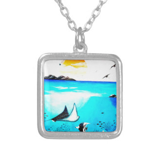 Beautiful Underwater Scene Painting Silver Plated Necklace