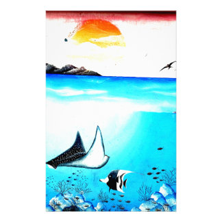 Beautiful Underwater Scene Painting Stationery Paper