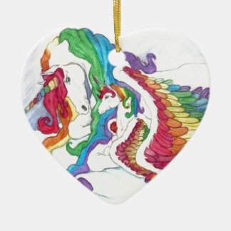 Beautiful Unicorn & Rainbows Mother & Baby Pegasus Ceramic Heart Decoration