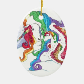 Beautiful Unicorn & Rainbows Mother & Baby Pegasus Ceramic Oval Decoration