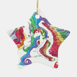 Beautiful Unicorn & Rainbows Mother & Baby Pegasus Ceramic Star Decoration