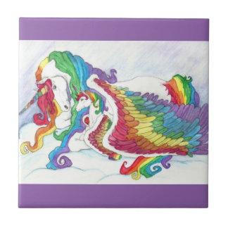 Beautiful Unicorn & Rainbows Mother & Baby Pegasus Ceramic Tile