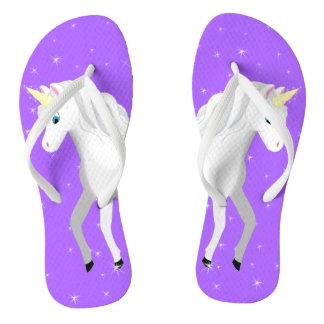 Beautiful Unicorn with Purple Starry Sky Thongs